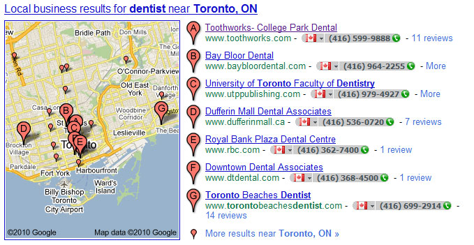 Internet Marketing Toronto - Local Business Search Results